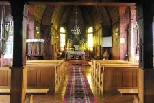 Miękisz Nowy – kościół p.w. Matki Bożej Śnieżnej, widok wnętrza.