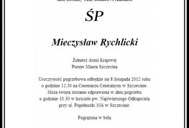 Zmarł Mieczysław Rychlicki